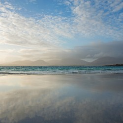 luskentyre beach with cloud reflections